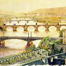 Panorama Prague Briges by Yuriy Shevchuk