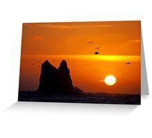 sunset activity at 'the notch', la push, washington, usa Greeting Card