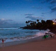 Full Moon Over Waimea Bay by Alex Preiss