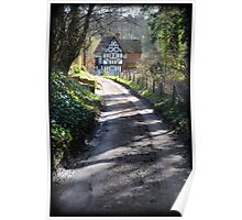 Country road and timber frame house Poster