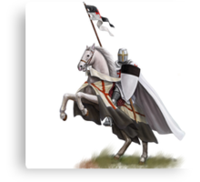 Templar on Rearing Horse (digitally coloured) Canvas Print