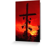 I am the Vine You are the branches Cross at Sunset Greeting Card