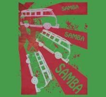 VW SAMBA SAMBA SAMBA Kombi Shirt - Red Kids Clothes