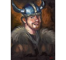 Zach got a Viking helmet Photographic Print