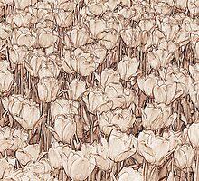 Tulips - sepia line art by PhotosByHealy