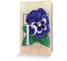 P is for Pansy card Greeting Card