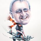 Caricature of Ian on a Spitfire 2010 by Louise Elisabeth Hunt