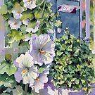 Hollyhock and Letterbox by Ann Mortimer