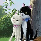 two romantic cats in love by martyee