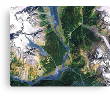"""""""Alaskan Spring"""" - The snow is receding and the valleys are greening. Canvas Print"""