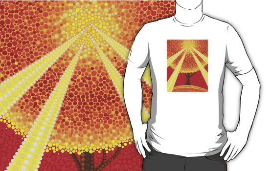 Fingers of god illuminated tree tshirt by Elspeth McLean