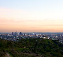 Griffith Park Observatory and Downtown L.A. - Sunset  by Reuben Reynoso