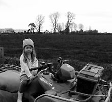 Girl on Farmbike in Winter by TamaraJane