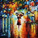 Rain Princess - original oil painting on canvas by Leonid Afremov by Leonid  Afremov