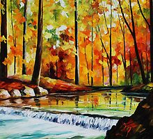 Forest Stream - original oil painting on canvas by Leonid Afremov by Leonid  Afremov