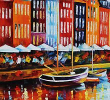 Copenhagen - original oil painting on canvas by Leonid Afremov by Leonid  Afremov