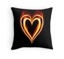 Flaming Heart on Fire Throw Pillow