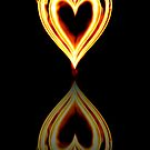 Flaming Heart on Fire with Reflection by clearviewstock