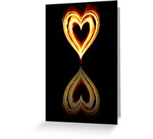 Flaming Heart on Fire with Reflection Greeting Card