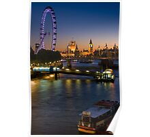 London Icons on the River Thames - England Poster