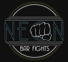 Neon Bar Fights Logo Tee by huckblade