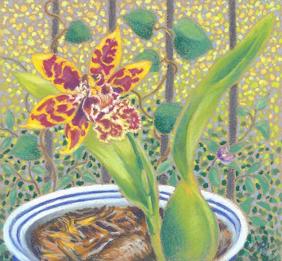 Little Orchid - miniature pastel still life by maria paterson