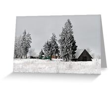 Lonely homestead in frost at 2011/01/28 winter Greeting Card