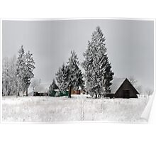 Lonely homestead in frost at 2011/01/28 winter Poster
