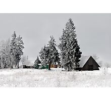 Lonely homestead in frost at 2011/01/28 winter Photographic Print