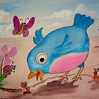 Bluebird and friends 1 - Happy themed critter friends grouping intended for a childs room by TedReeder
