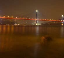 Ting Kau Bridge at Night. by Nick Atkin