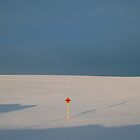 Orange Snowmobile Black Arrow Sign Snow by Lisa Diamond
