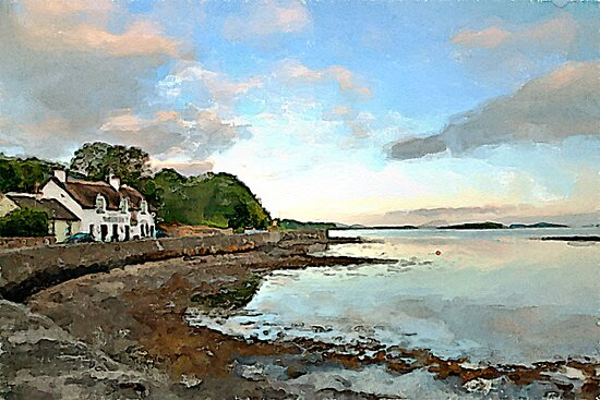 The Pub by the Sea watercolour by PhotosByHealy