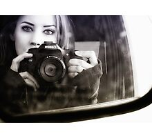 On the Road (Self Portrait in Rearview Mirror) Photographic Print