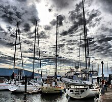 Oak Harbor Marina and Clouds by Rick Lawler