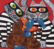 'Cracked Cat-Burglars' - Naughty Pussy Cats! by Lisa Frances Judd~QuirkyHappyArt