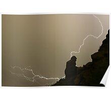 The Praying Monk Lightning Strike Sepia Print Poster