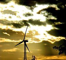 Silhouette - Wind Mill of the gods :) Early Morning :) by dvsraghavan