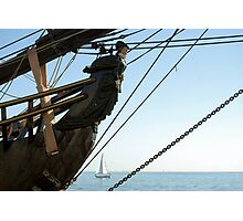 HMS Bounty figurehead with sailboat Photographic Print