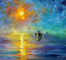 Night Sea - original oil painting on canvas by Leonid Afremov by Leonid  Afremov