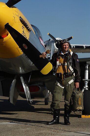 P.51D  Mustang Pilot by Rhymenocerous