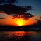Crimson Red Sunset, Waikiki. by Josh Kennedy