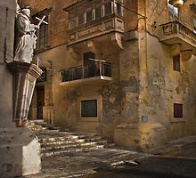 St Lucia Str corner with St Ursola Valletta Malta by Edwin  Catania