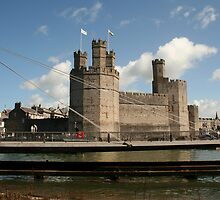 Caernarfon Castle Showing the Swing Bridge by AnnDixon