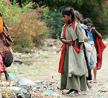 Indian Gypsy Children looking for something to eat  at the rubbish dump. by joshuatree2