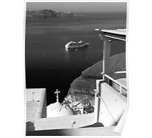 Ship in the Caldera ~ Black & White Poster