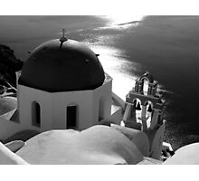 Churches of Santorini ~ Black & White Photographic Print
