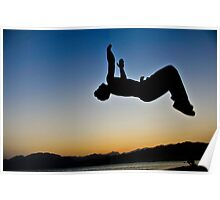 Parkour on the beach at sunset Poster