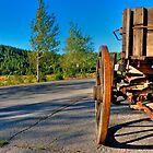 Old wagon on a side of a road by Svetlana Day