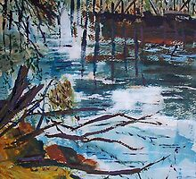 The old trestle bridge, Seymour Vic Australia by Margaret Morgan (Watkins)